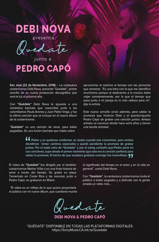 Press Release Quedate Debi Nova Pedro Capo